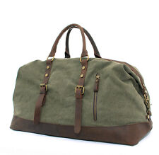 """New 22""""Men's Large Leather Canvas Luggage Bags Weekend Overnight Duffle Handbag"""