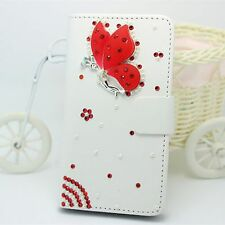Bling Butterfly Wallet Card Holder Leather Flip Pouch Case Cover For HTC phones