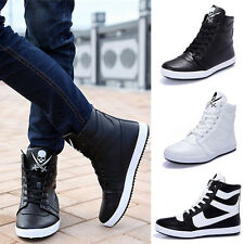 2014 New Men's High Top Sneakers Ankle Boots Lace Up Skateboard Casual Shoes UK