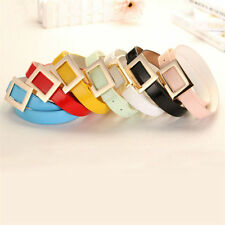 New Women Candy Colours Strap Imitation Leather Alloy Smooth Buckle Waist Belt
