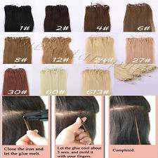 "Loop Micro Ring Beads Tipped Real Human Hair Extensions Any Colors 18""20""22"""
