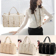 Fashion Vintage Women PU Leather Messenger Bag Tote Shoulder Bag Lace Handbag S3