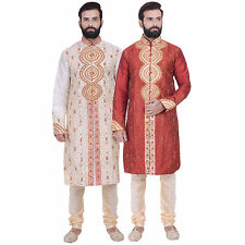 MEN INDIAN KURTA SHERWANI 3pc SUIT WITH SCARF (WORLDWIDE POST)