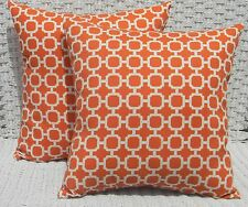 2 Pack ~ Orange Circles Decorative Indoor Outdoor Throw Toss Pillow Made In USA
