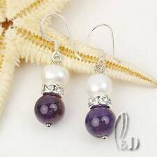 Chic White Genuine pearls&Natural Amethyst Silver Earrings AU SELLER e015-18