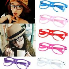 Fashion Retro Unisex Mens Womens Clear Lens Wayfarer Nerd Geek Glasses Eyewear