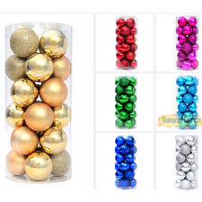 24 Pack 4cm Christmas Tree Decorations Xmas Balls Baubles Party Wedding Ornament