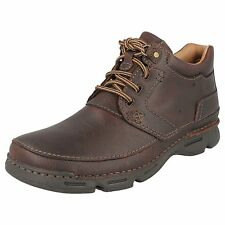 Mens Clarks Rico Rise Mahogany Leather Casual Lace Up Ankle Boots G Fitting