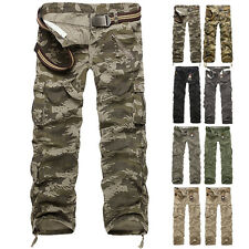 Fashion Casual Mens Fitted Military Army Cargo Camo Combat Work Trousers Pants
