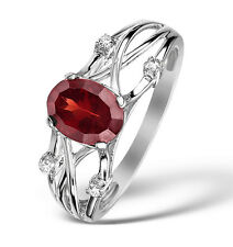 9k White Gold Ring With Garnet & Diamonds From Jewellery Quarter London 7x5mm