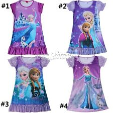 Frozen Princess top ELSA Girls Sleepwear Night Gown Shirt Dress Xmas Pajamas NEW