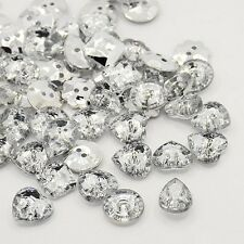 ACRYLIC RHINESTONE BUTTONS FACETED/SILVER PLATED BACKS HEARTS FLOWERS AND MORE