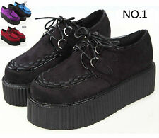 Women's Punk Faux Suede leather High Platform Lace Up Flat Creeper Shoes#114