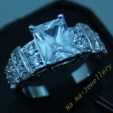 Size 8-12 Classic Jewelry Mens White Sapphire Gold Filled Band Gem HI-Q Ring
