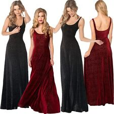 SEXY Lady's BLACK WINE RED LONG BURNED VELVET MAXI FORMAL PARTY EVENING DRESSES