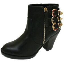 WOMENS BLACK ZIP-UP ANKLE BIKER COWBOY RIDING BUCKLE BOOTS SHOES SIZE 3-9