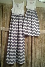 Chevron striped Mother and daughter maxi dress matching set women size M-3XL