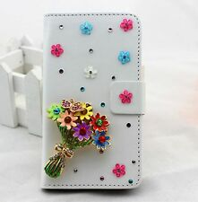 Bling Flowers Flip Pouch Wallet Card Slot PU Leather Case Cover For Samsung 1