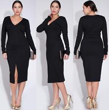 PLUS SIZE BLACK LONG SLEEVE DRESS Party Below Knee Front Slit Sexy BodyCon Long