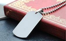 New Stainless Steel Army Dog Tag Pendant Necklace Ball Chain Cord