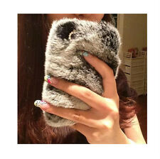"""Warm Soft Bling Furry Real Rubbit Fur Case Cover For iPhone 6 5S 4S 6 Plus 5.5"""""""