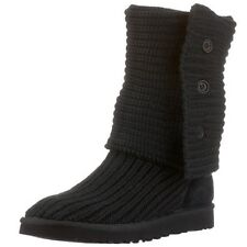 Ugg Australia Womens Classic Cardy Knit Black Boot Shearling 5819 New W/Box