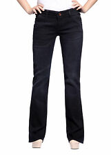 Womens Jeans Bootcut Black Denim Pants Trousers Bell Bottoms Hipsters Top Model
