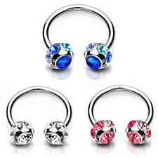 Crystal Surgical Steel Piercing Horseshoe Lip Bar Stud Nose Ear Nipple Ring Hoop