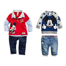 Nwt Baby Boys Lovely Mickey Casual Outfits Tops Sweatshirt Jeans Pants 2pcs set