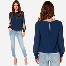 Fashion Women Loose Sexy Long-sleeved Chiffon Casual Blouse Shirt Tops Useful