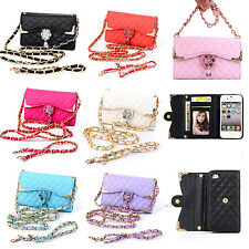 Fashion Bling Diamond PU Leather Flip Wallet Handbag Case Cover Skin Two Chains