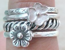 925 STERLING SILVER stackable RING oxidised TWISTED band DAISY filigree XOXO