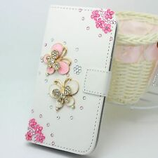 Bling butterfly Wallet Card Holder pu Leather Flip Cover Case for Sony phones