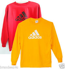 NEW Mens Adidas Red Long Sleeve T-Shirt Size S M L XL big Logo on Front