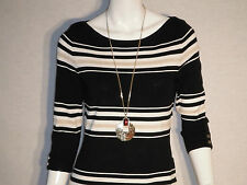WHITE HOUSE BLACK MARKET SWEATER 3Q BOAT NK STRIPE PO SIZE XS,S,M,L,XL RETAIL$88