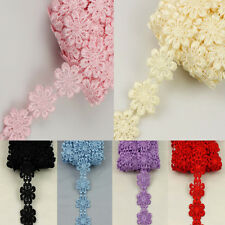 3yds Flower Floral Embroidered Venice Fabric Sewing Lace Trim Applique DIY Craft