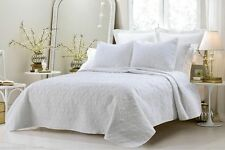 3pc White Oversized Quilted Coverlet Bedspread Bedding Set with Shams