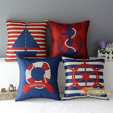 Decorative Pillow Case Sailing ship Anchor Cotton Linen Cushion Cover Square 18""