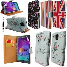 WALLET PRINTED PU LEATHER CASE COVER FOR SAMSUNG GALAXY NOTE 4 + FILM +STYLUS