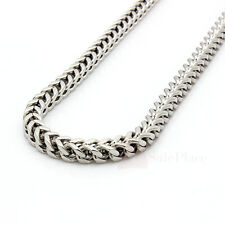 "24"" 30"" 36"" Mens 6mm Silver Stainless Steel Franco Cuban Box Chain Link Necklace"