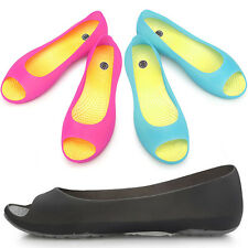New Lovely Womens Jelly Peep Toe Ballet Flats Comfort Shoes Multi Colored