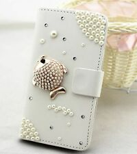 Pearl fish Wallet Card Holder PU Leather Flip Case Cover For Samsung 1
