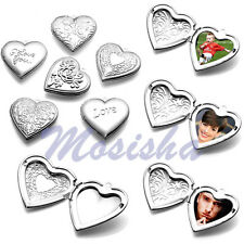 Carved Flower Love Heart Friends Photo Picture Frame Locket Pendant for Necklace
