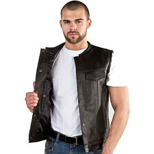 MENS LEATHER MOTORCYCLE CLUB VEST WITH BLACK LINER LEVI STYLE (V8007)