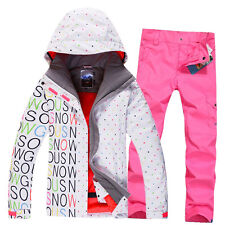 Outdoor Women Ski Suit Snow Ski Set Jacket Pants Snowboard Waterproof XS-L