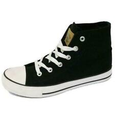 BOYS GIRLS TEENS CANVAS HI-TOP BLACK BOOTS TRAINER SHOES LACE-UP PUMPS SIZE 13-5