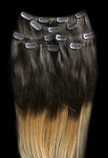 7pcs Clip In 100% HUMAN HAIR Ombre Hair Extensions #T4/27