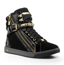 NEW - MSRP $150 - Michael MICHAEL KORS Glam Studded High Top Sneakers, Black