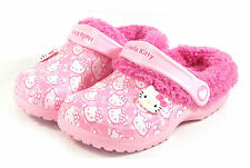 Hello Kitty Kids Casual Sandal Shoes Girls Clogs Winter FUR Warm Slippers Pink