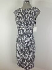 Calvin Klein New WT White Gray Abstract print Dress with high waist and  belt